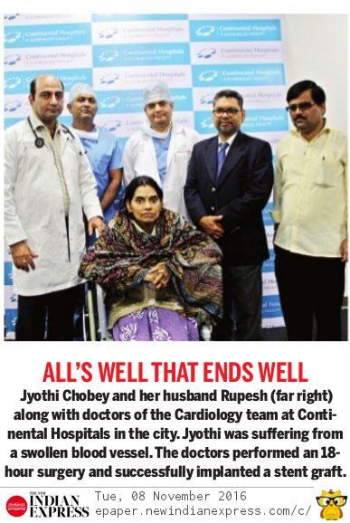 Indian Express report of Aortic debranching surgery Dr Avinash Dal